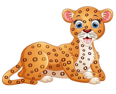 lay down: Happy leopard cartoon lay down Illustration