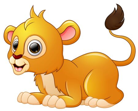 lay down: Happy lion cartoon lay down