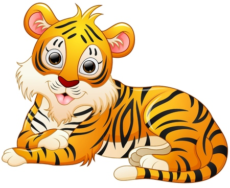 lay down: Cute tiger cartoon lay down Illustration