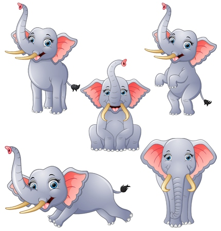 Elephant cartoon set collection