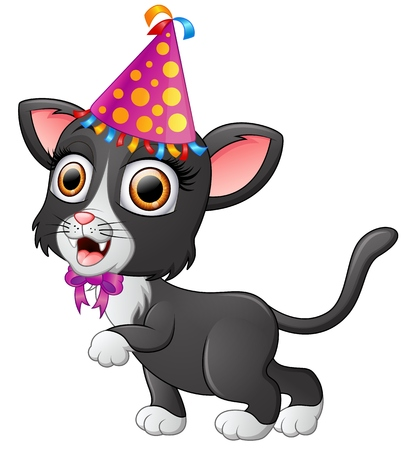 whisker characters: Happy cat cartoon celebrating birthday Stock Photo