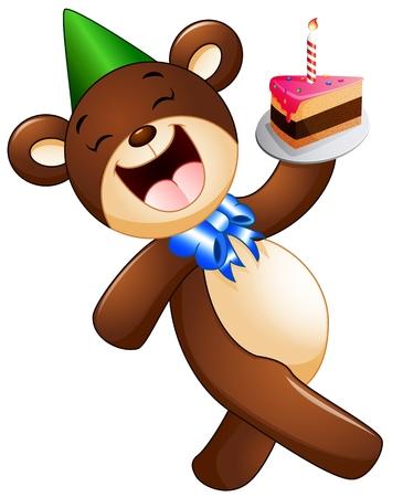 birthday cakes: Happy bear cartoon holding birthday cake