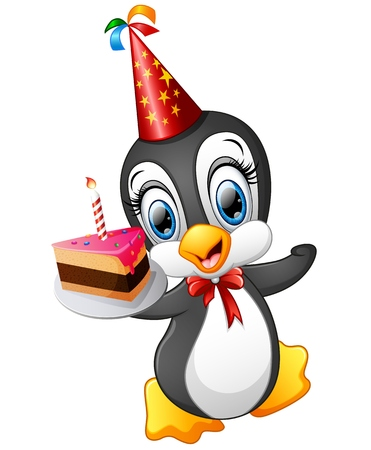 Happy penguin cartoon holding birthday cake