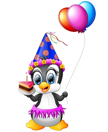 Happy penguin cartoon holding birthday cake and balloon Illusztráció