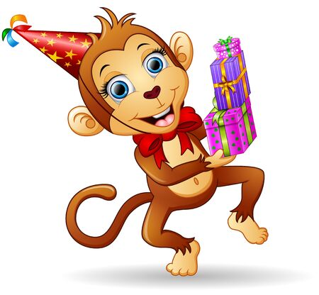 Happy monkey cartoon celebrating birthday