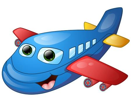 De dibujos animados avión feliz Ilustración de vector