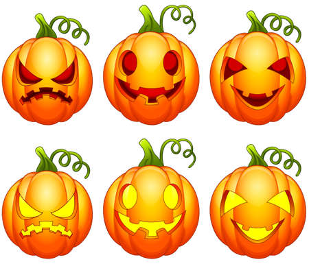droll: Set of Halloween pumpkins cartoon