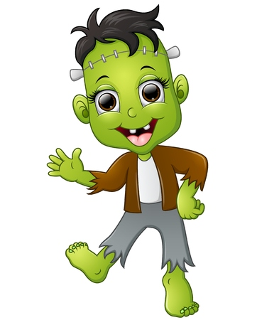happy little frankenstein cartoon Stock Photo