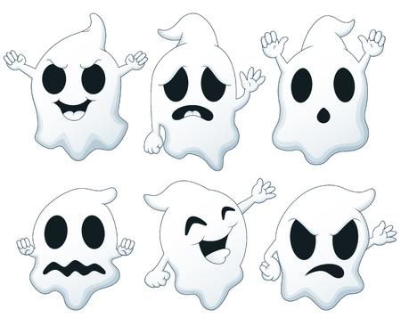 Conjunto de dibujos animados de Halloween fantasma Ilustración de vector