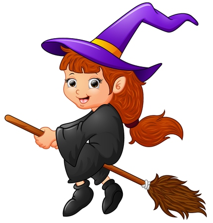 Cartoon witch flying