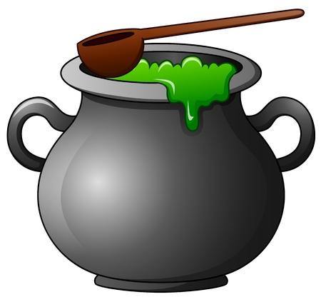 soup kettle: Witch cauldron cartoon