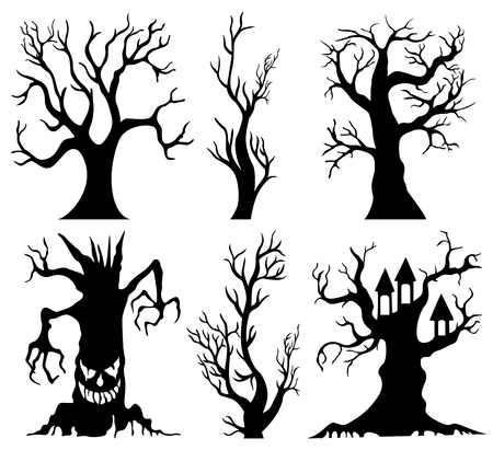 monsters house: Set of spooky Halloween tree cartoon