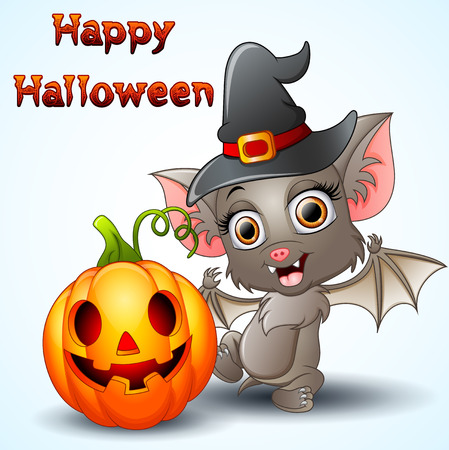 Bat cartoon with a witch hat and pumpkin