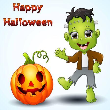 Happy little frankenstein and pumpkin cartoon Vectores