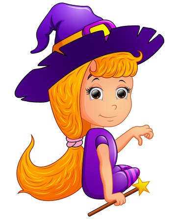 kiddies: Happy witch Cartoon sitting
