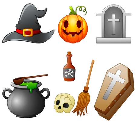 Set of Halloween equipment cartoon