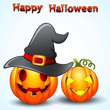 Set of Halloween pumpkins cartoon
