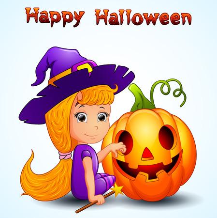 night dress: Happy witch and pumpkin cartoon
