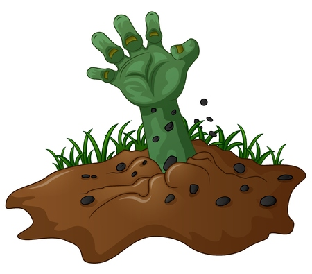 zombie hand: zombie hand coming out of the earth Illustration