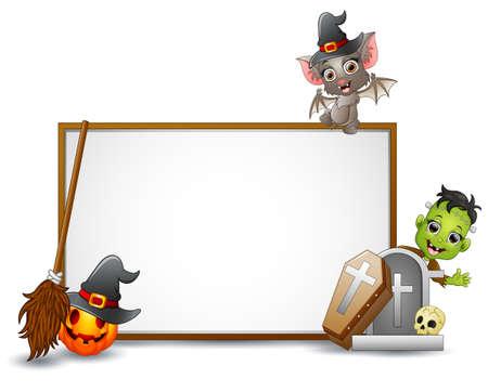 Halloween sign with bat, Frankenstein, and pumpkin