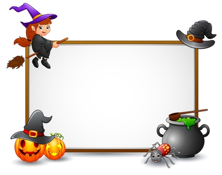 witch spider: Halloween sign with witch, spider, and pumpkin