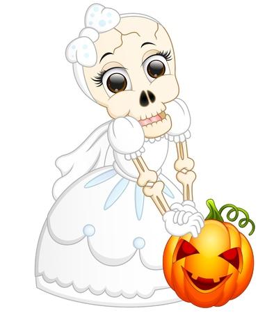 Skull bride holding pumpkin cartoon