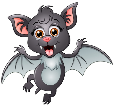 Happy bat cartoon isolated on white background