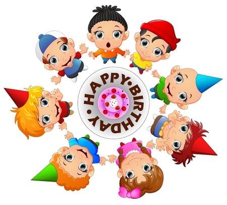 happy kids: Happy kids celebrating birthday