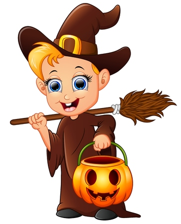 cartoon little witch holding broom and pumpkin