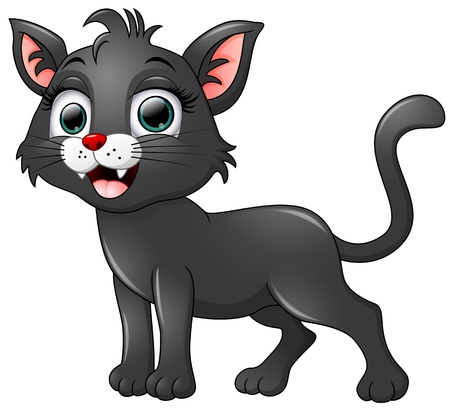 whisker characters: Black cat cartoon isolated on white background