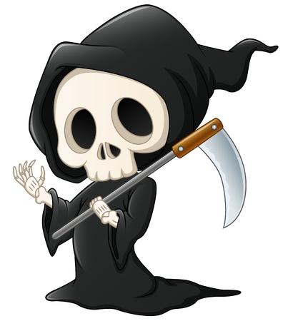Grim reaper cartoon waving hand