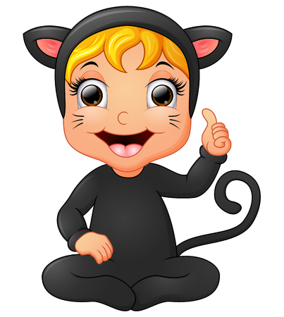 catwoman: Happy little girl wearing cat costume giving thumb up