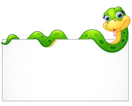 행복 한 녹색 뱀 빈 기호
