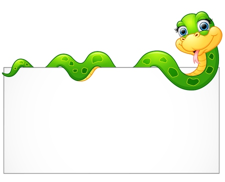 Happy green snake with blank sign