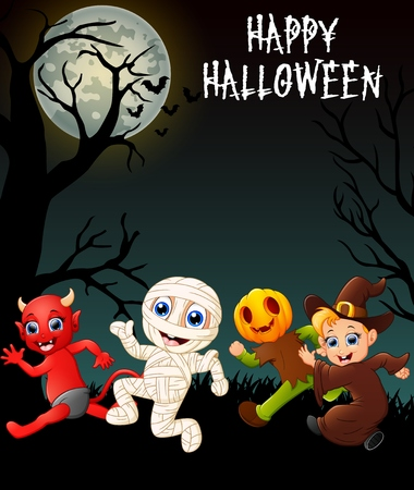 red devil: Happy halloween costumes with red devil, mummy, pumpkin costume and little witch Illustration