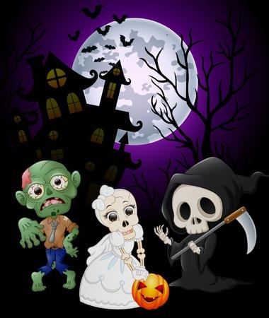 silhouette maison: costumes d'Halloween grim reaper avec le crâne mariée et zombie sur fond hanté château Illustration