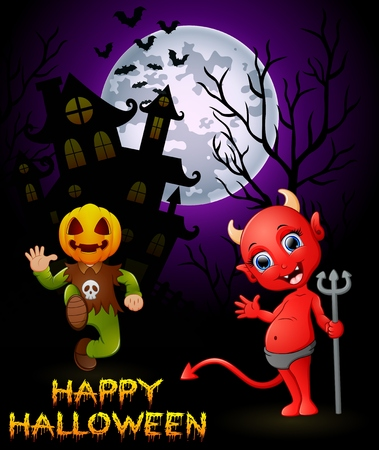 monsters house: Halloween pumpkin costumes with a devil on haunted castle background