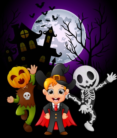 Halloween background with children in halloween costume