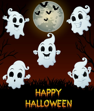 Set of halloween emotional ghosts on grass background