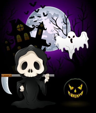 Halloween costumes grim reaper with pumpkin and ghost on haunted castle background