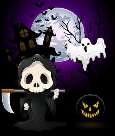 Halloween kostuums grim reaper met pompoen en spook op achtervolgd kasteel achtergrond Vector Illustratie