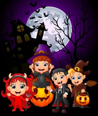 Happy Halloween purple background with children in Halloween costume