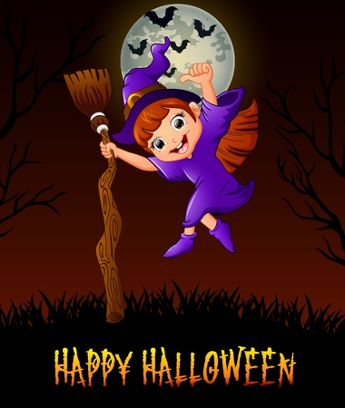 Cute little witch holding a broom while giving thumb up