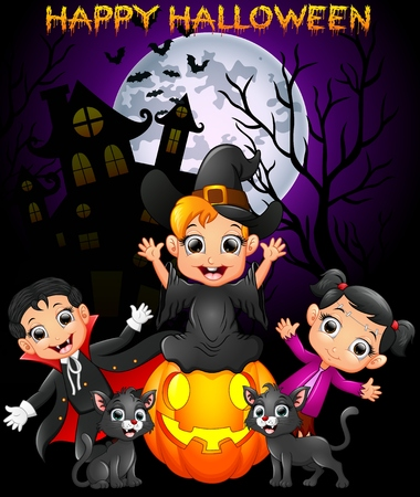Happy Halloween purple background with children in Halloween costume