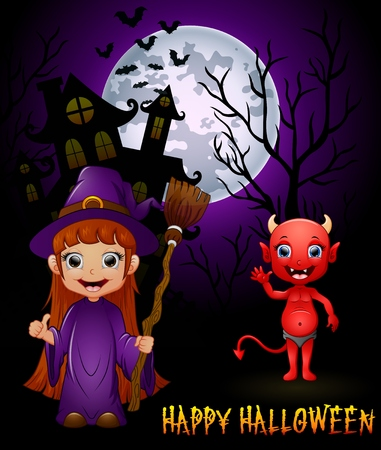 red devil: Little witch cartoon holding broom and red devil on haunted castle background