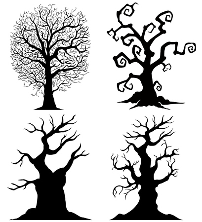 tree silhouettes: Scary tree silhouettes on the white background