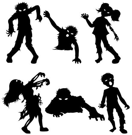 Set of zombie male and female of black silhouettes Ilustração