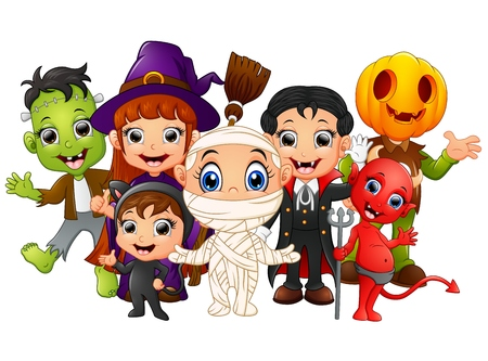Halloween kids costumes. witch, Frankenstein, Dracula, cat costume, Red Devil, mummy, Pumpkin Head Illustration