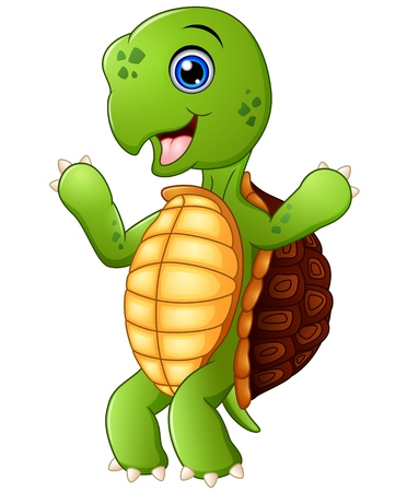 cute cartoon: Cute cartoon turtle standing