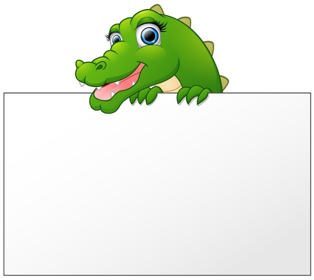 Cartoon Crocodile holding and looking over a blank sign board Illustration